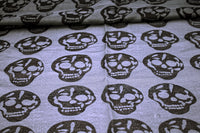 Grey Cotton Blend Skull Scarf - The Cranio Collections