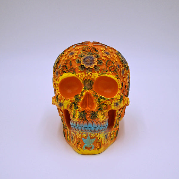 Orange Floral Sugar Skull Sculpture - The Cranio Collections