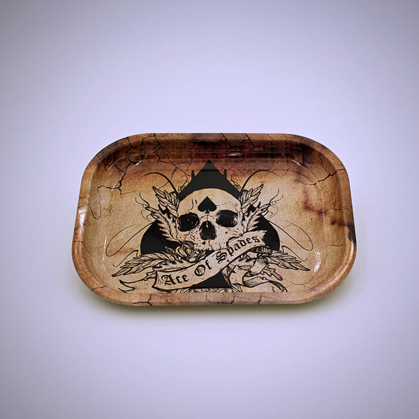 Metal Skull and Ace of Spades Mini Rolling Tray - The Cranio Collections