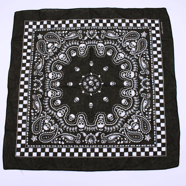 Cotton Skull Checker Border Bandana - The Cranio Collections