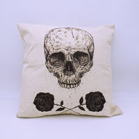 Skull and Roses Throw Pillow Cover with Insert - The Cranio Collections