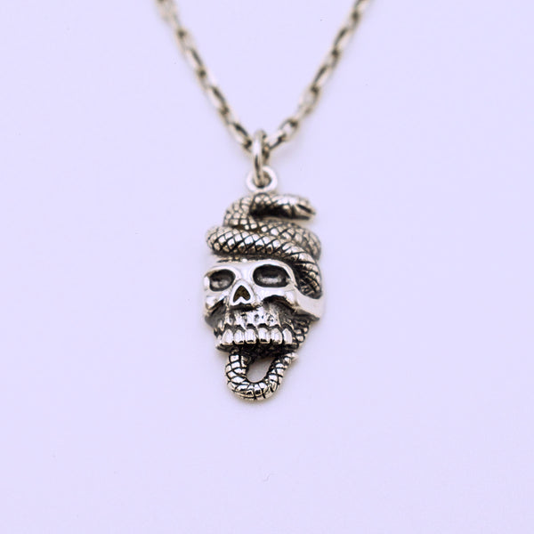 Sterling Silver Skull and Snake Pendant with Chain - The Cranio Collections