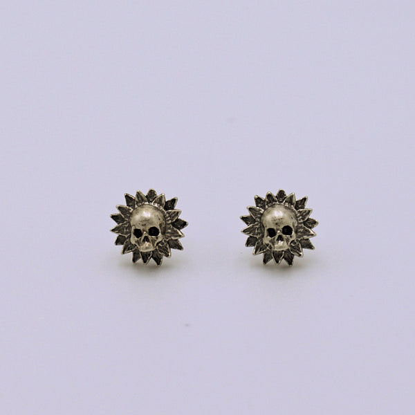 Sterling Silver Sunflower Skull Earrings - The Cranio Collections