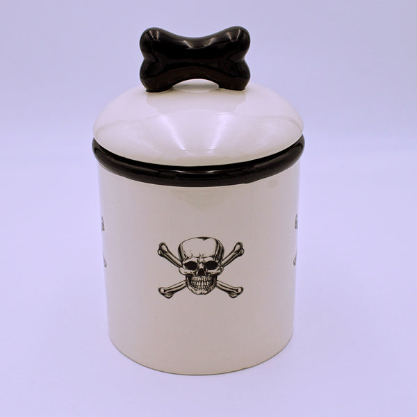 Skull and Crossbones Ceramic Pet Treat Container - The Cranio Collections