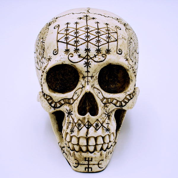 Voodoo Symbol Skull Sculpture - The Cranio Collections
