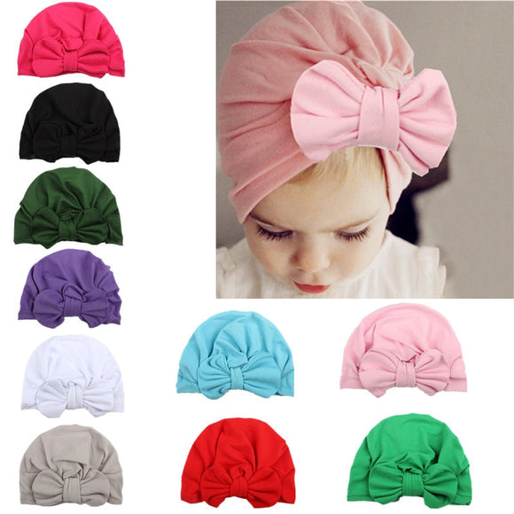 Newborn Baby Bow knot Hat Nursery Beanie Hospital Hat Turban Head Wraps