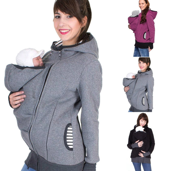 Winter maternity hoodie with Baby Pouch Carrier
