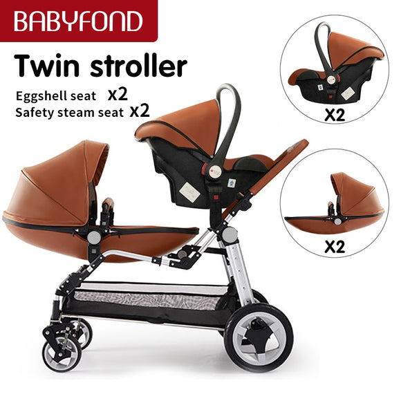 Luxury twins stroller aluminum frame leather