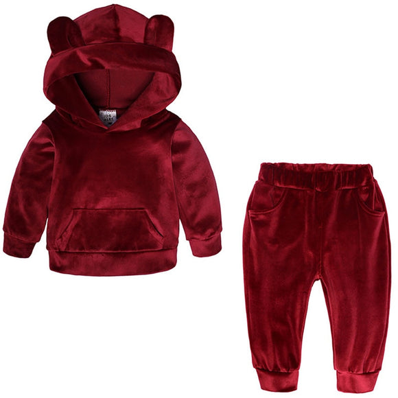 Baby Boys Girls Velvet Hooded Clothing Set