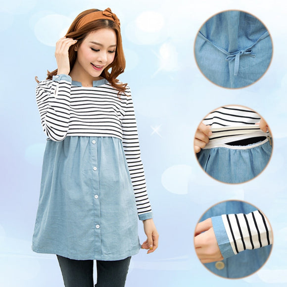 Spring Maternity Patchwork Long Sleeve Nursing Striped T-Shirts