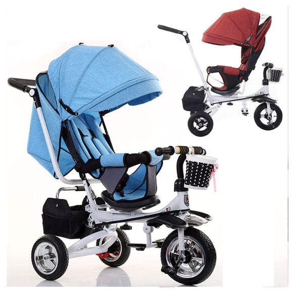 Swivel Seat Baby Stroller 3 In 1 Folding Portable Baby Tricycle