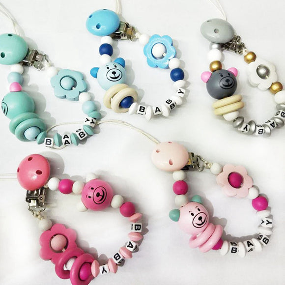 Baby Pacifier Clip Chain Infant Boys Girls Cute Cartoon Bear Letters Toys