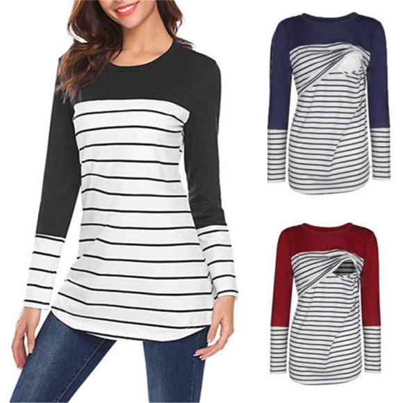 New Women Maternity Striped Shirts Pregnant Nursing Breastfeeding