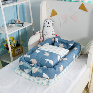 Portable Baby Crib With Quilt Infant Toddler Cradle Cot For Newborn Nursery Travel Folding Baby Nest Baby Bed For Baby Care
