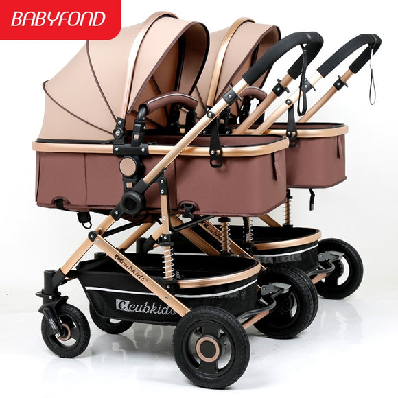 Twin baby detachable high landscape lightweight easy to fold stroller