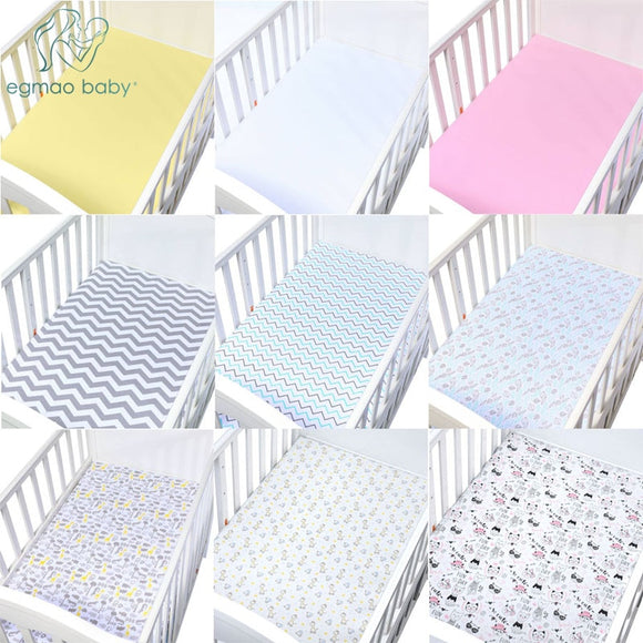 Printed Crib Sheets Set, 100% Natural Cotton Toddler Sheet Set for Baby Boys and Girls, Soft Breathable Hypoallergenic, 130*70cm