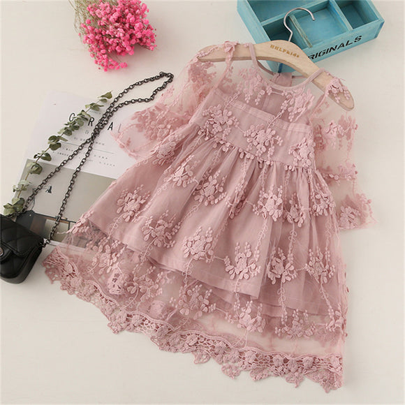Summer Girl Clothes Kids Dresses For Girls Lace Flower Dress Baby Girl Party Wedding Dress Children Girl Princess Dress 3 8Y