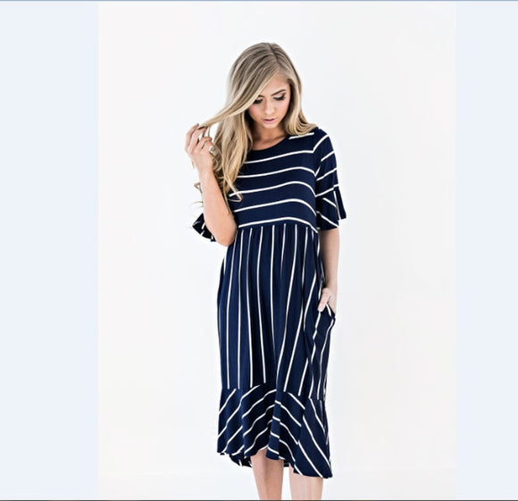 Striped Maternity Print Dress Half Sleeve Knee Long Skirt Pregnant Women Fashion Lotus Leaf Skirt Beach Dress Womens Clothing