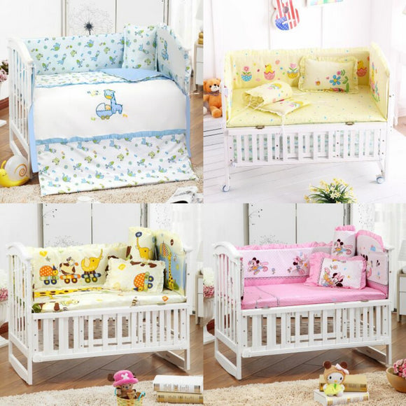 5Pcs/Set Cotton Print Breathable Baby Bedding Bumper Collision Protector