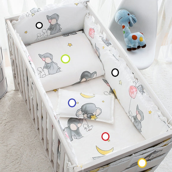 Gray Elephant Baby Crib Bed bumper Bedding Sets