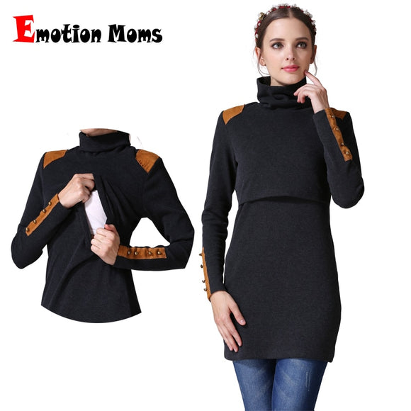 Turtleneck Maternity Nursing Breastfeeding Dress
