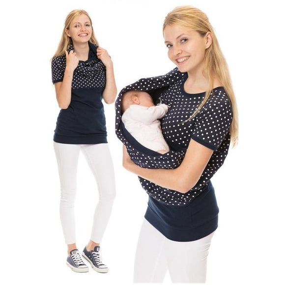 Maternity Clothes Women Nursing Top Printed Short-sleeved Tshirt