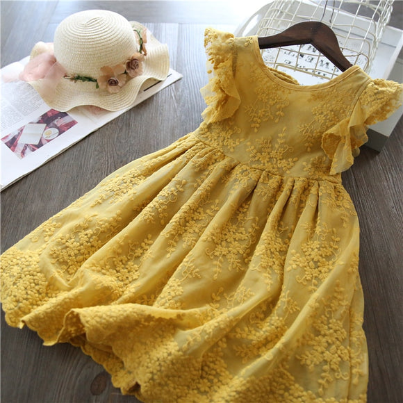 Lace And Flower Design Baby Girls Dress