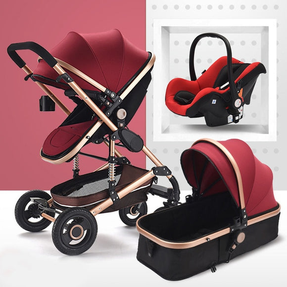 Baby Stroller 3 in 1 Multi-functional baby pushchair High Landscape Stroller