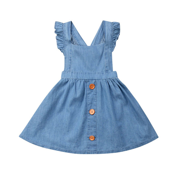 Summer Toddler Kids Baby Girls Dress Denim Kids  Shoulder Straps Tutu Casual Button Cotton Backless Sweet Sundress Dress 1-6T