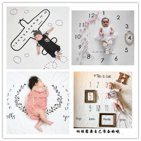 Newborn Photography Props Monthly Growth Background Blankets