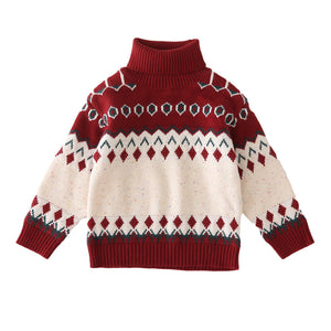 Parent-child Christmas sweater turtleneck sweater