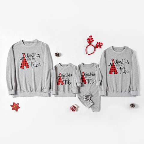 Christmas Printed Grey T-shirt Family Outfits