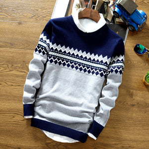 New round neck pullover sweater knitted printing