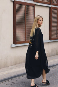 Jen Embroidered Buttoned Midi Dress