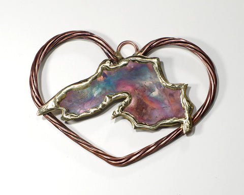 Copper Art Lake Superior in a Braided Heart
