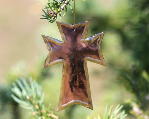 Copper Art Cross Ornament