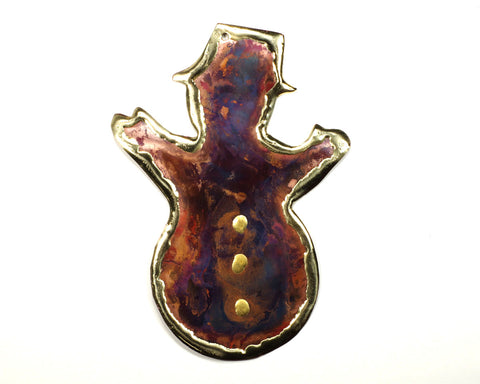 Copper Art Large Snowman Ornament