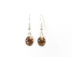 10 X 8 mm Copper Firebrick bezel set earrings