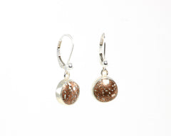 10 mm round Copper Firebrick earrings with lever-back setting