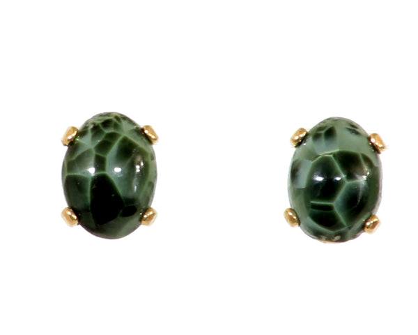 7x5mm 14ky Greenstone Earrings