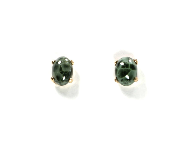 7x5mm Greenstone 14ky Earrings