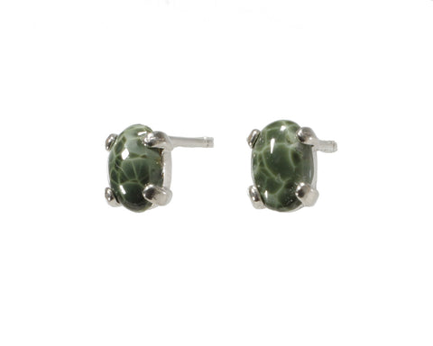6x4mm Greenstone Earrings  #210