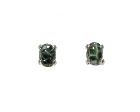 6x4mm Greenstone Earrings #220