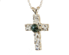 6mm Greenstone Textured Cross Pendant #101