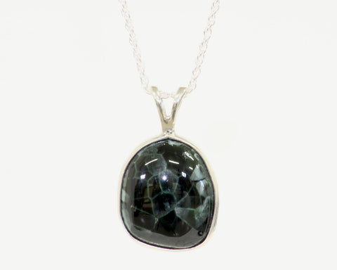 16mm x 16mm Bezel Set Freeform Greenstone Pendant