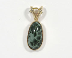 12x8mm Greenstone Pendant in 14K gold Bezel setting