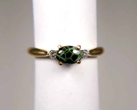 6 x 4mm Side set with diamonds Greenstone ring