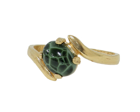 8x6mm Greenstone 14k Ring with offset swirl setting