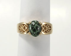 8x6mm Greenstone Ring in 14ky Filigree Setting