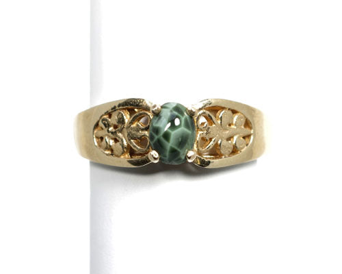 6x4mm Greenstone Ring 14ky filigree setting
